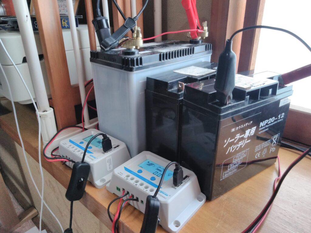 車の廃バッテリー、ソーラー用バッテリー、コントローラー(USB端子付き)